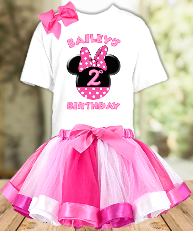 Minnie Mouse Pink Bow Birthday Party Personalized Ribbon Tutu Outfit - All Sizes - MMPTO01
