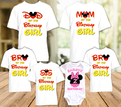 Minnie Mouse Pink Bow Birthday Party Personalized T Shirt or Onesie - 6 Pack - MINME6P