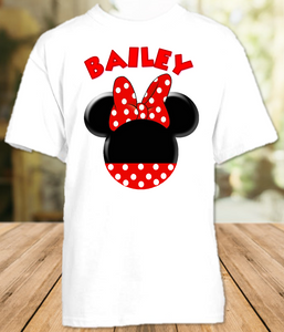 Minnie Mouse Red Bow Party Personalized T Shirt or Onesie - All Sizes - MINMEPS2