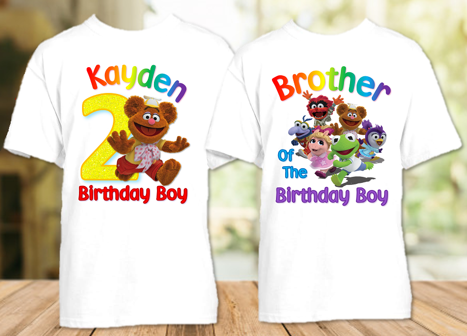 Muppet Babies Fozzie Bear Birthday Party Personalized T Shirt or Onesie - 2 Pack - MUBF2P