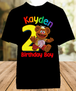 Muppet Babies Fozzie Bear Birthday Party Personalized Color T Shirt - All Sizes - MUBFCS1
