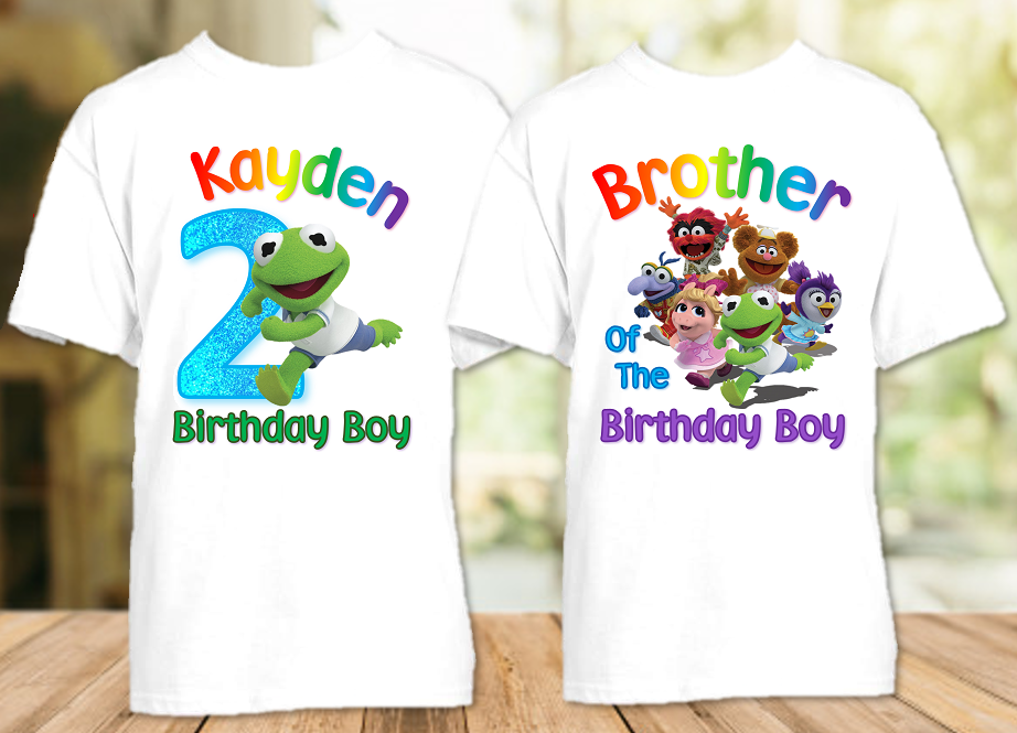 Muppet Babies Kermit Frog Birthday Party Personalized T Shirt or Onesie - 2 Pack - MUBK2P