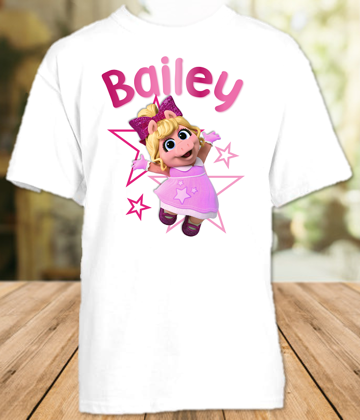 Muppet Babies Miss Piggy Party Personalized T Shirt or Onesie - All Sizes - MUBPPS1