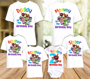 Muppet Babies Animal Birthday Party Personalized T Shirt or Onesie - 6 Pack - MUBA6P