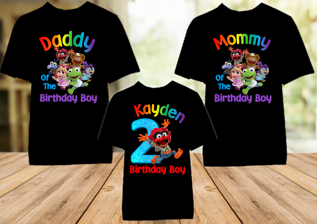 Muppet Babies Animal Birthday Party Personalized Color T Shirt - 3 Pack - MUBAC3P