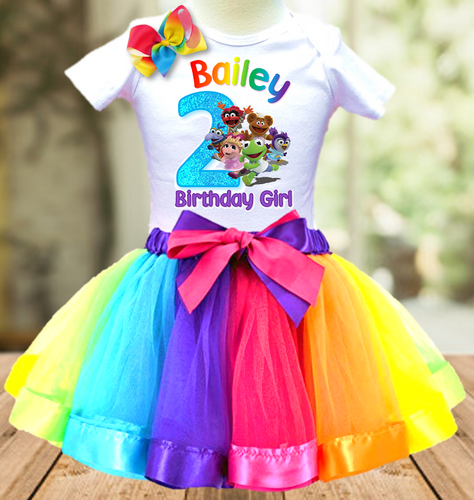 Muppet Babies Birthday Party Personalized Ribbon Tutu Outfit - All Sizes Available - MUBTO01