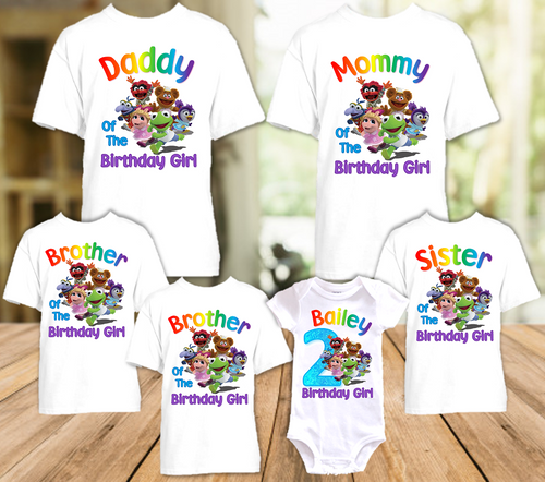 Muppet Babies Birthday Party Personalized T Shirt or Onesie - 6 Pack - MUB6P