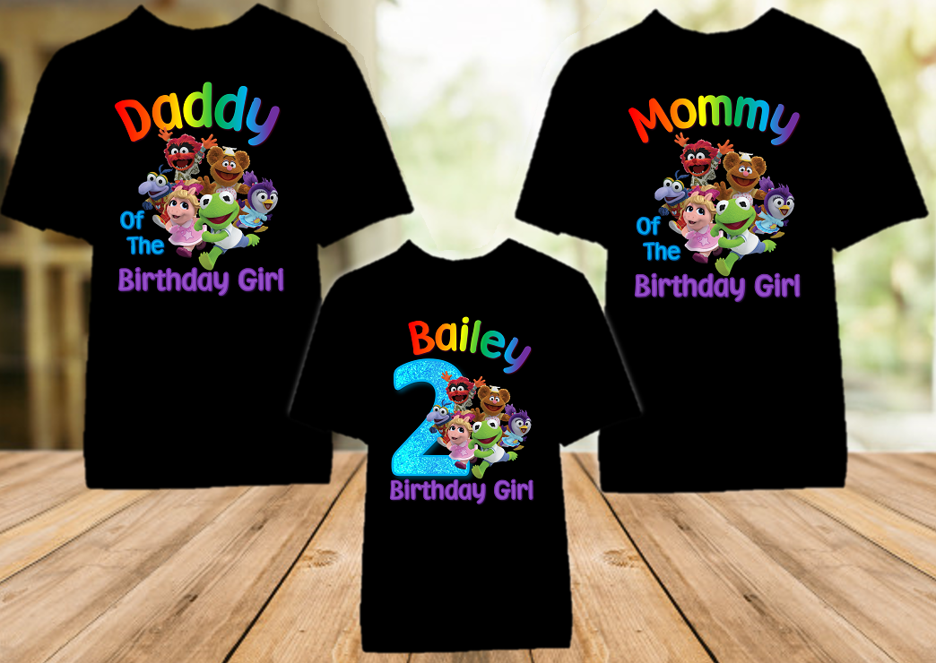 Muppet Babies Birthday Party Personalized Color T Shirt - 3 Pack - MUBC3P