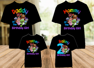 Muppet Babies Birthday Party Personalized Color T Shirt - 4 Pack - MUBC4P