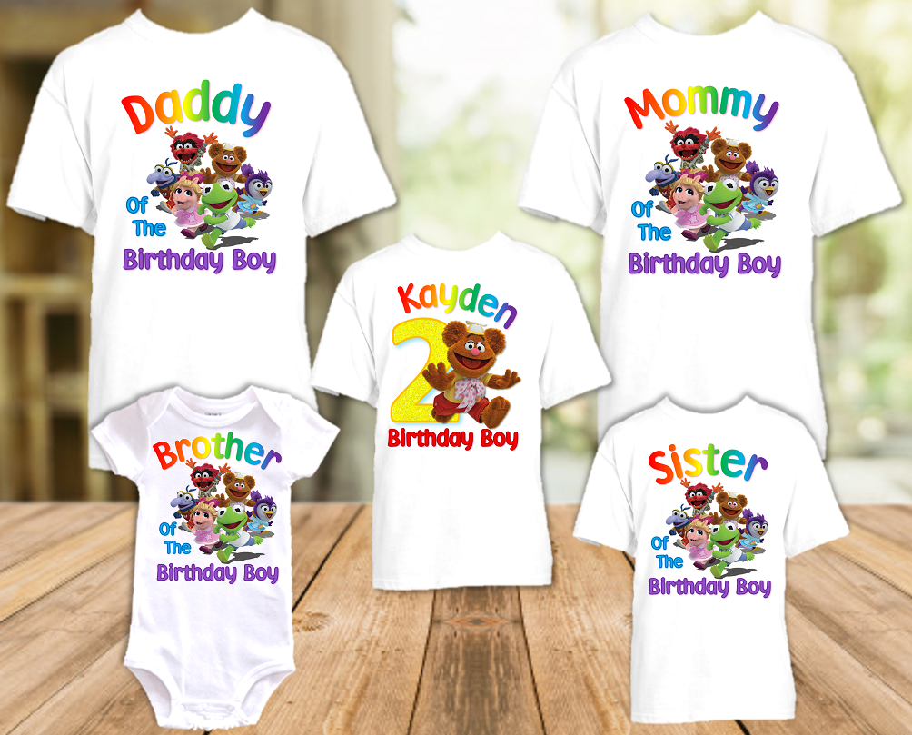 Muppet Babies Fozzie Bear Birthday Party Personalized T Shirt or Onesie - 5 Pack - MUBF5P