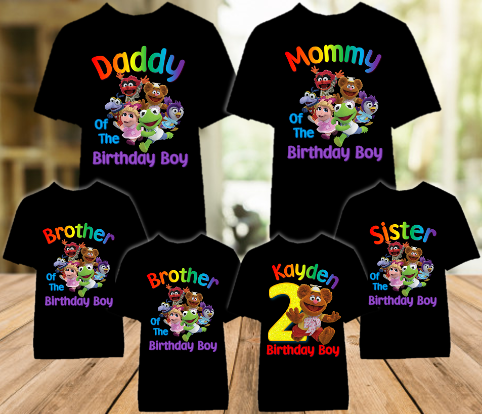 Muppet Babies Fozzie Bear Birthday Party Personalized Color T Shirt - 6 Pack - MUBFC6P