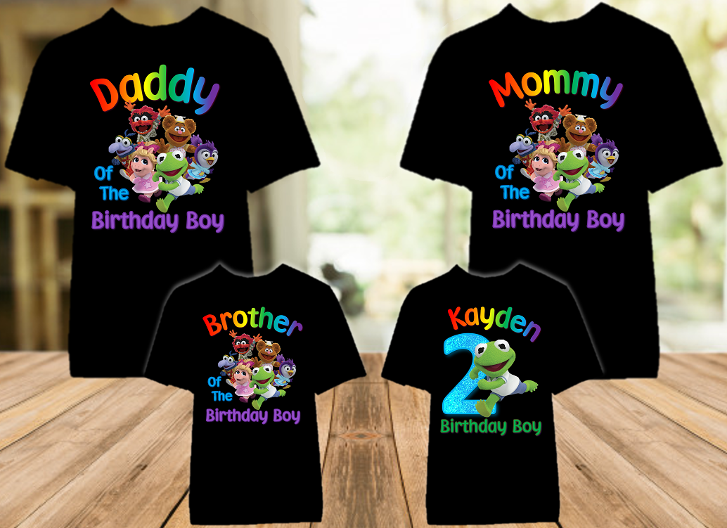 Muppet Babies Kermit Frog Birthday Party Personalized Color T Shirt - 4 Pack - MUBKC4P