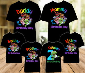 Muppet Babies Kermit Frog Birthday Party Personalized Color T Shirt - 6 Pack - MUBKC6P