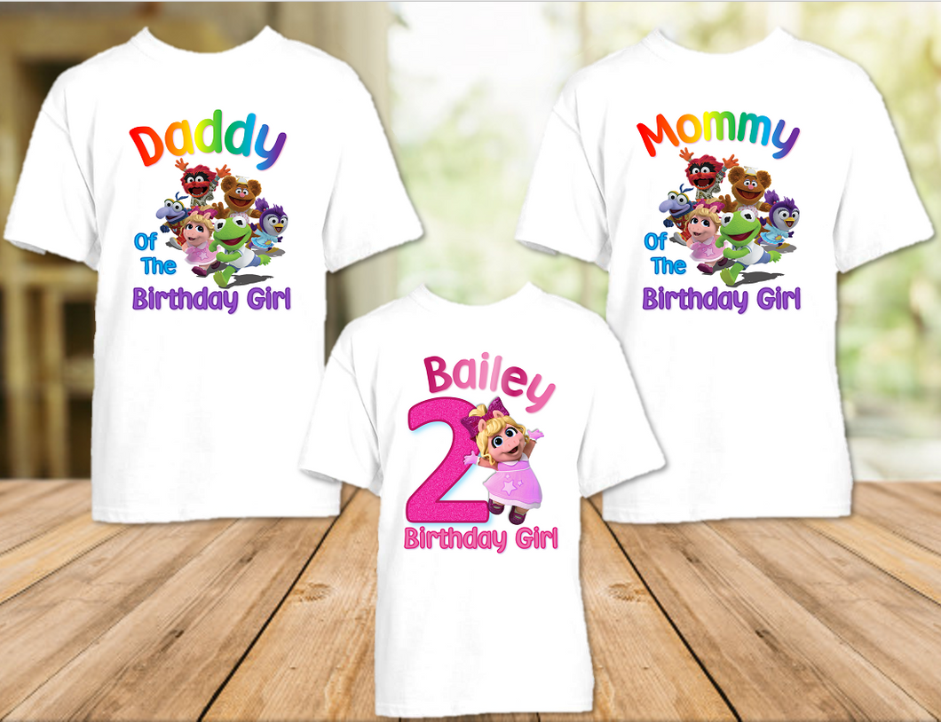 Muppet Babies Miss Piggy Birthday Party Personalized T Shirt or Onesie - 3 Pack - MUBP3P