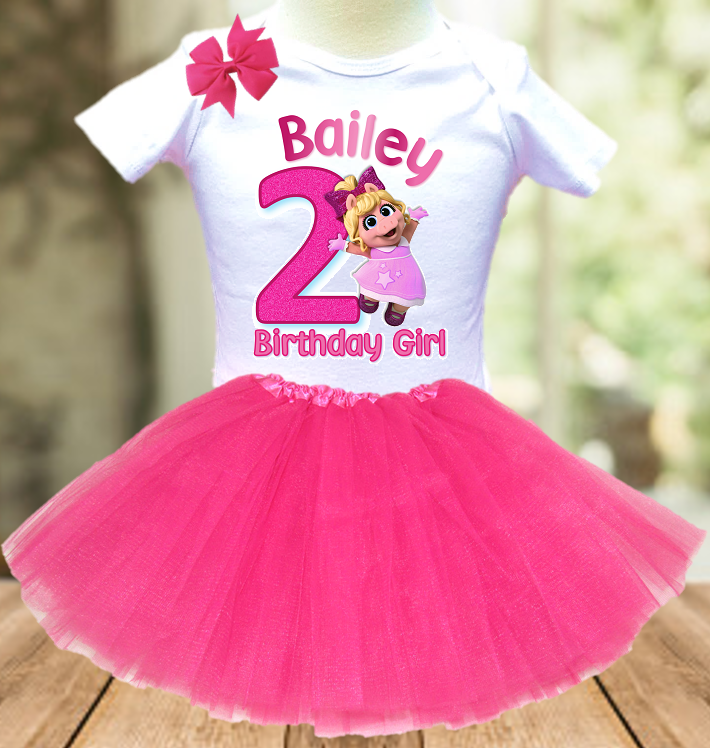 Muppet Babies Miss Piggy Birthday Party Personalized Layer Tutu Outfit - All Sizes - MUBTO02A