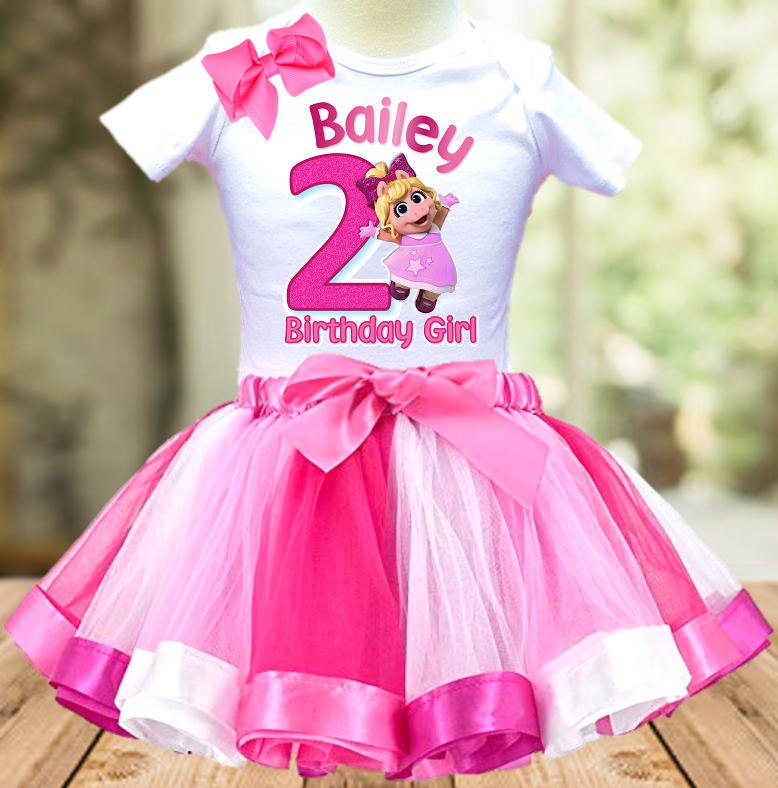 Muppet Babies Miss Piggy Birthday Party Personalized Ribbon Tutu Outfit - All Sizes - MUBPTO01