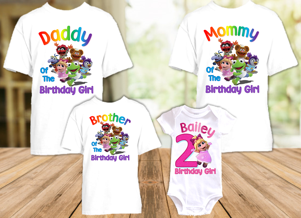 Muppet Babies Miss Piggy Birthday Party Personalized T Shirt or Onesie - 4 Pack - MUBP4P