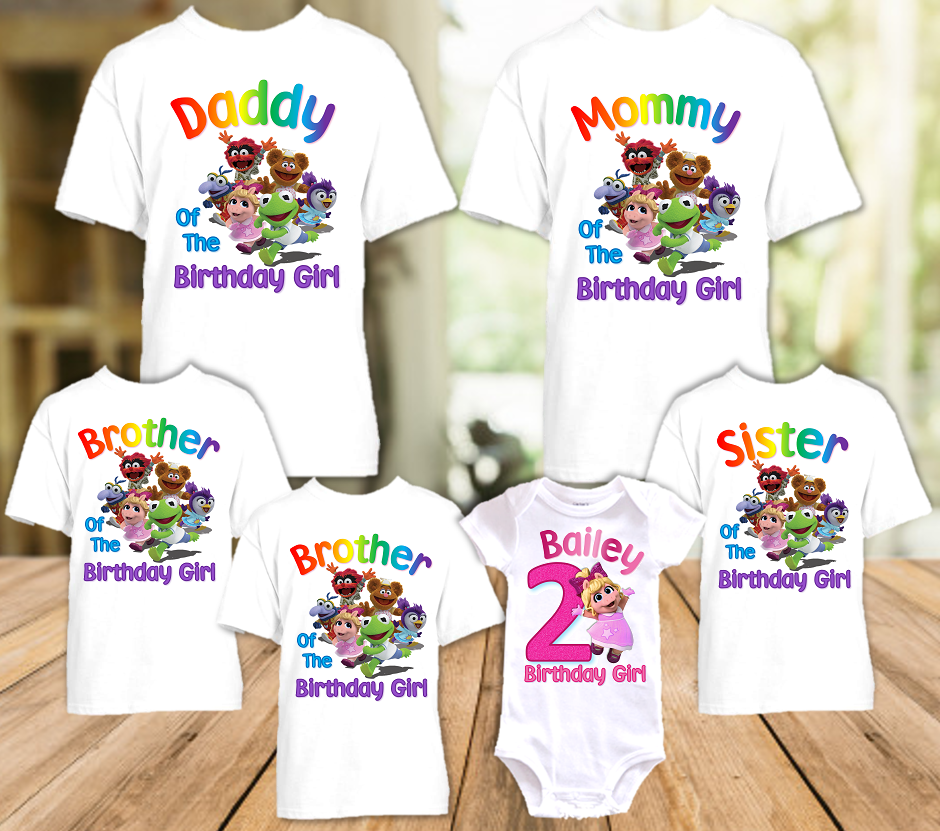 Muppet Babies Miss Piggy Birthday Party Personalized T Shirt or Onesie - 6 Pack - MUBP6P