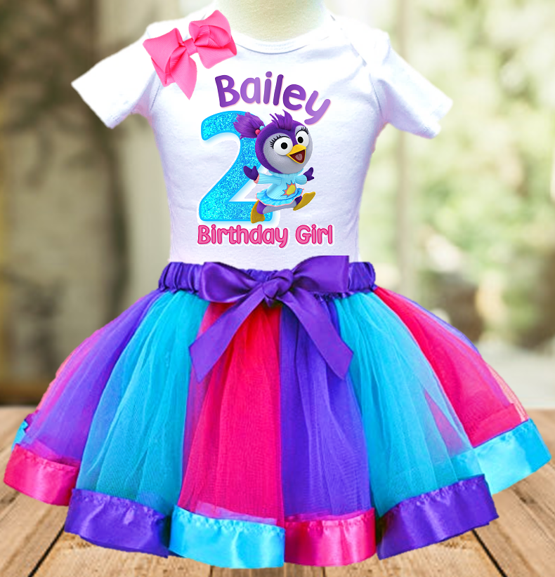 Muppet Babies Summer Penguin Birthday Party Personalized Ribbon Tutu Outfit - All Sizes - MUBSTO01