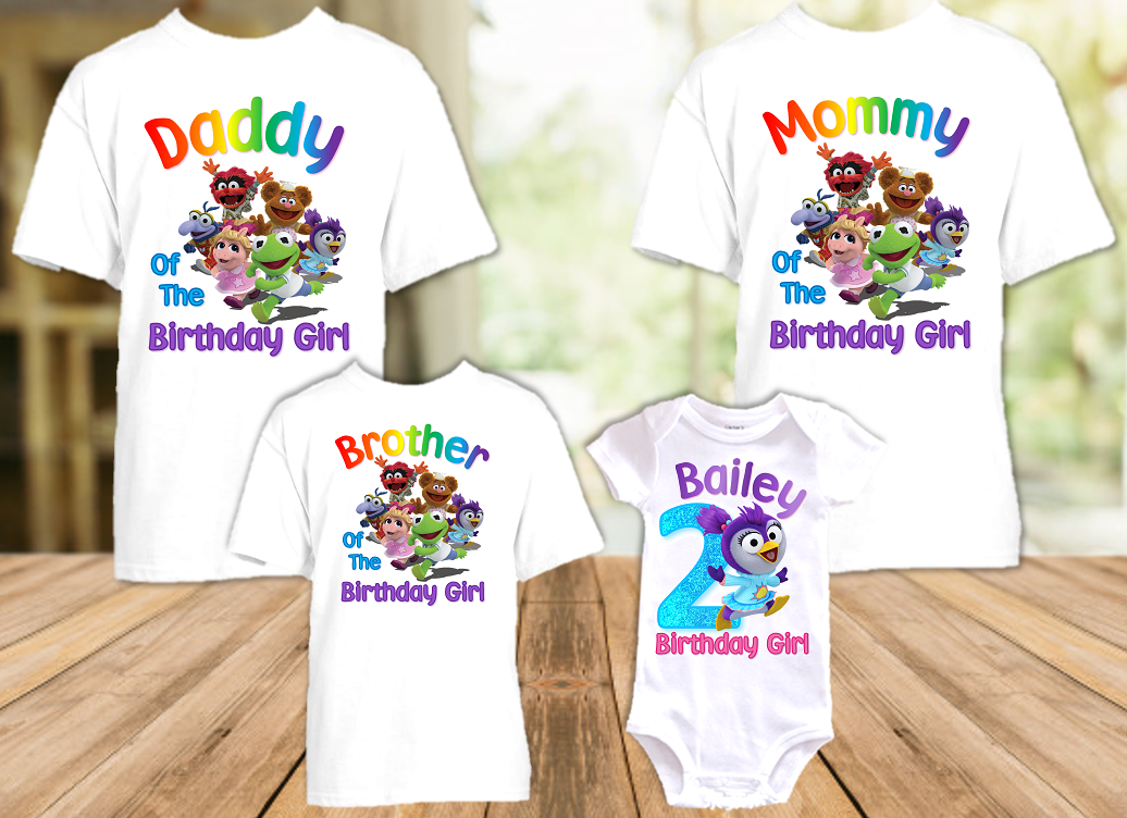 Muppet Babies Summer Penguin Birthday Party Personalized T Shirt or Onesie - 4 Pack - MUBS4P