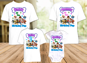 Paw Patrol Birthday Party Personalized T Shirt or Onesie - 4 Pack - PP4P