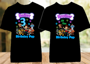 Paw Patrol Birthday Party Personalized Color T Shirt - 2 Pack - PPC2P