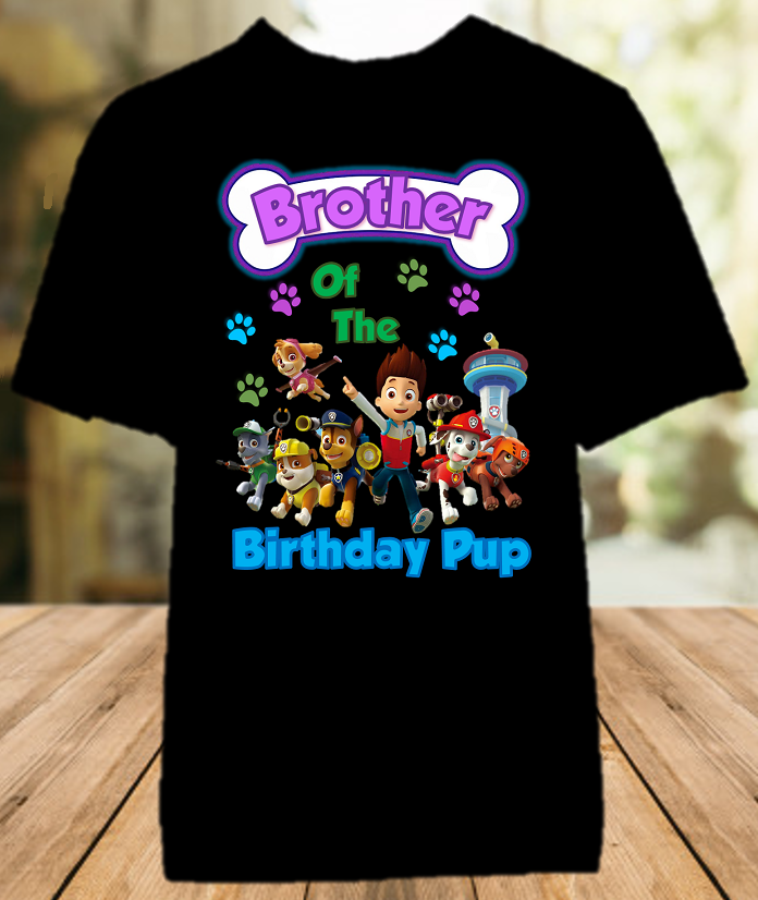 Paw Patrol Birthday Party Personalized Sibling Brother Color T Shirt - All Sizes - PPBCS1
