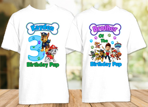 Paw Patrol Chase and Marshall Birthday Party Personalized T Shirt or Onesie - 2 Pack - PPCM2P
