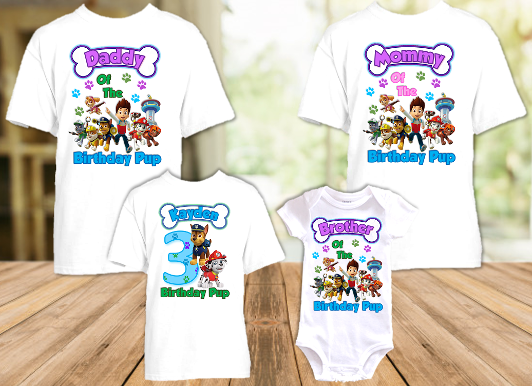 Paw Patrol Chase and Marshall Birthday Party Personalized T Shirt or Onesie - 4 Pack - PPCM4P