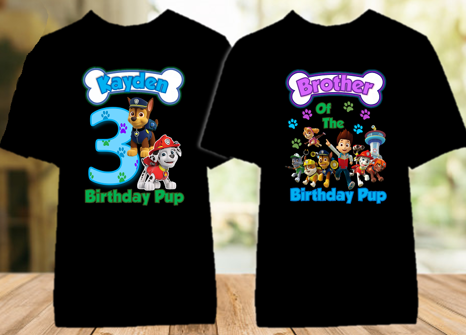 Paw Patrol Chase and Marshall Birthday Party Personalized Color T Shirt - 2 Pack - PPCMC2P