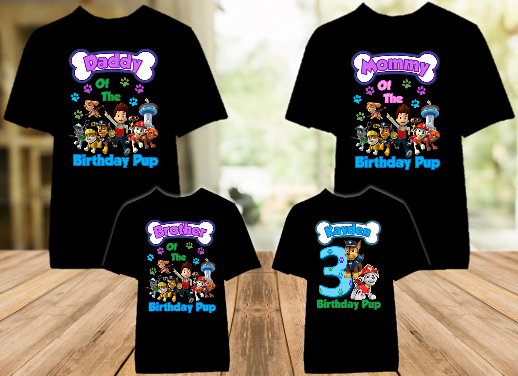 Paw Patrol Chase and Marshall Birthday Party Personalized Color T Shirt - 4 Pack - PPCMC4P