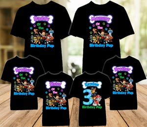 Paw Patrol Chase and Marshall Birthday Party Personalized Color T Shirt - 6 Pack - PPCMC6P