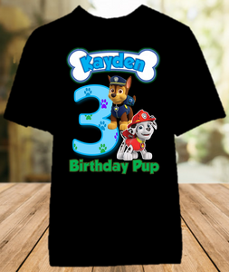 Paw Patrol Chase and Marshall Birthday Party Personalized Color T Shirt - All Sizes - PPCMCS1