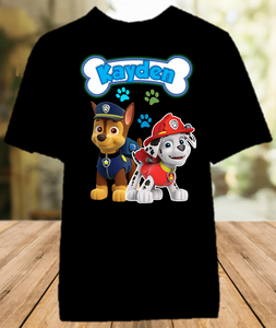 Paw Patrol Chase and Marshall Party Personalized Color T Shirt - All Sizes - PPCMPCS1