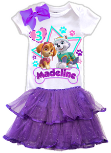 Paw Patrol Everest Skye Birthday Party Personalized Glitter Tutu Outfit - All Sizes - PAWESTIERTO01
