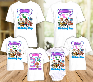 Paw Patrol Everest and Skye Birthday Party Personalized T Shirt or Onesie - 6 Pack - PPES6P