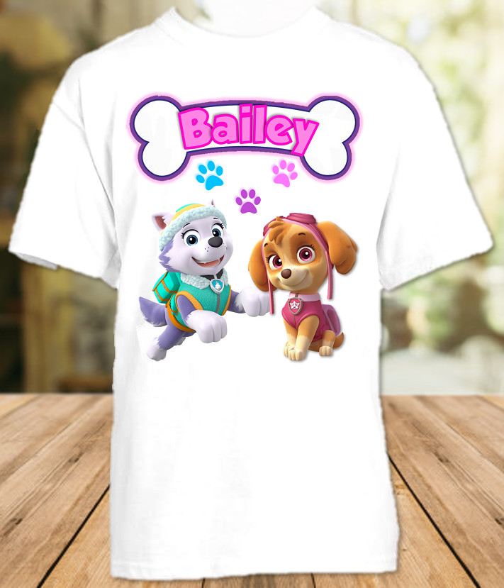Paw Patrol Everest and Skye Party Personalized T Shirt or Onesie - All Sizes - PPESPS1