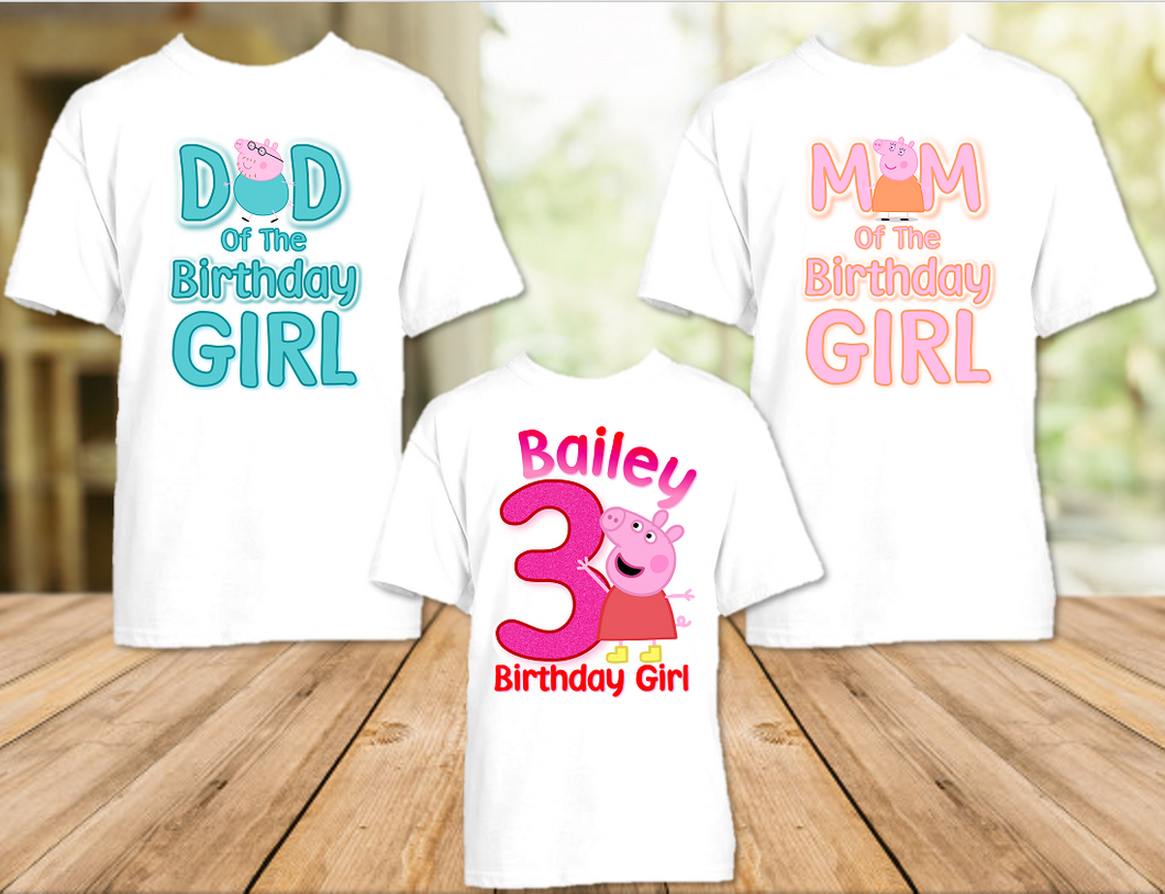 Peppa Pig Birthday Party Personalized T Shirt or Onesie - 3 Pack - PPG3P