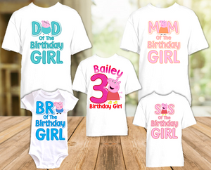 Peppa Pig Birthday Party Personalized T Shirt or Onesie - 5 Pack - PPG5P