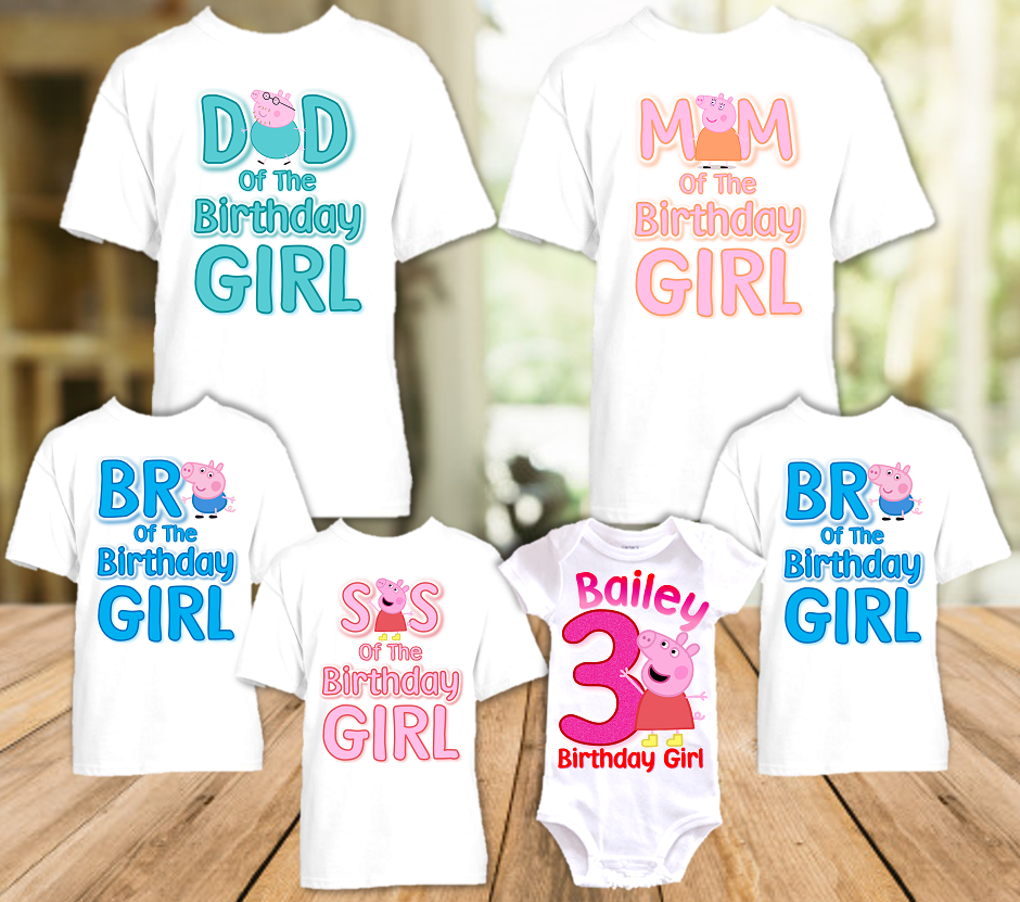 Peppa Pig Birthday Party Personalized T Shirt or Onesie - 6 Pack - PPG6P
