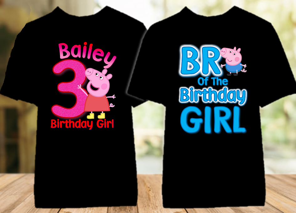 Peppa Pig Birthday Party Personalized Color T Shirt - 2 Pack - PPGC2P