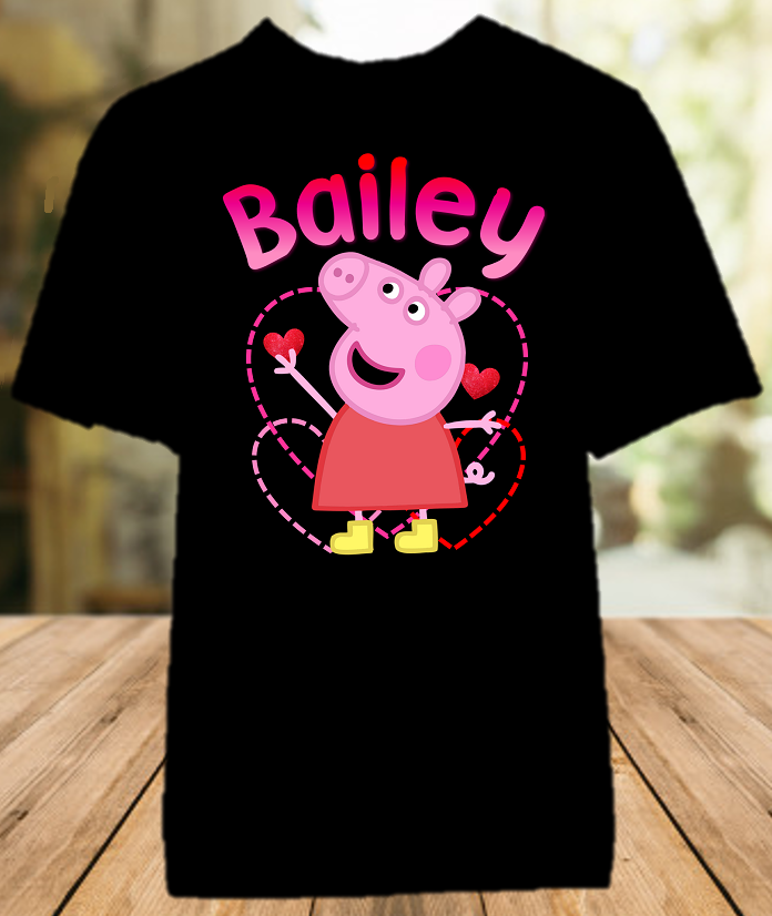 Peppa Pig Party Personalized Color T Shirt - All Sizes - PPGPCS1