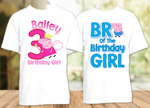 Peppa Pig Fairy Princess Birthday Party Personalized T Shirt or Onesie - 2 Pack - PPGF2P