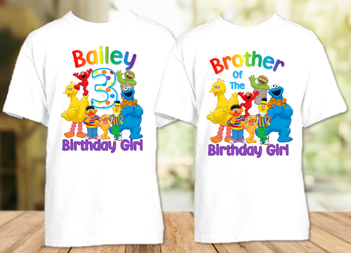 Sesame Street Birthday Party Personalized T Shirt or Onesie - 2 Pack - SS2P