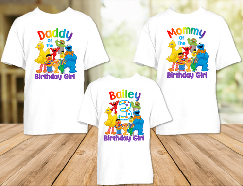Sesame Street Birthday Party Personalized T Shirt or Onesie - 3 Pack - SS3P