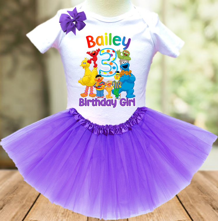 Sesame Street Birthday Party Personalized Layer Tutu Outfit - All Sizes - SSTO01A