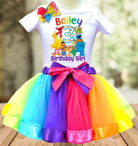 Sesame Street Birthday Party Personalized Ribbon Tutu Outfit - All Sizes - SSTO01