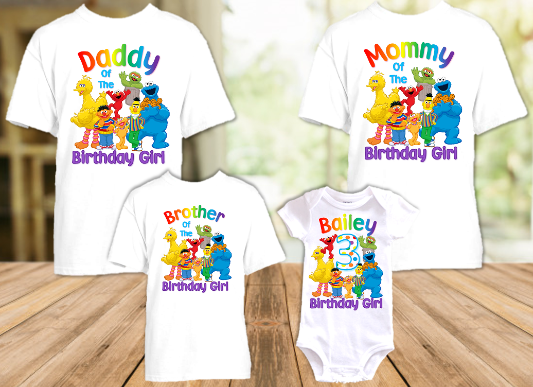 Sesame Street Birthday Party Personalized T Shirt or Onesie - 4 Pack - SS4P