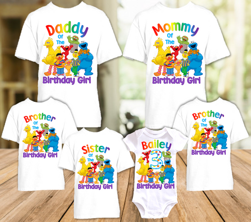 Sesame Street Birthday Party Personalized T Shirt or Onesie - 6 Pack - SS6P