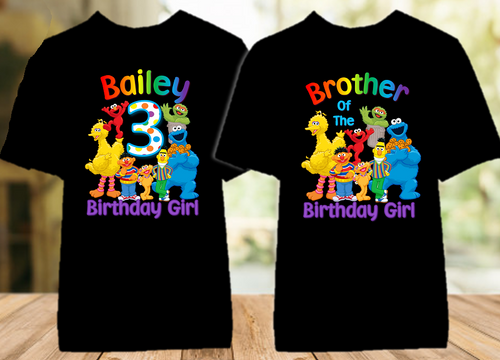 Sesame Street Birthday Party Personalized Color T Shirt - 2 Pack - SSC2P